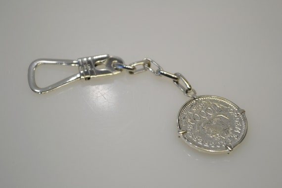 925 Sterling Silver 1913 Coin Key Chain Key Ring - image 7