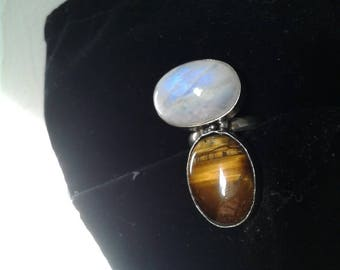 Moonstone and Tigers Eye Ring