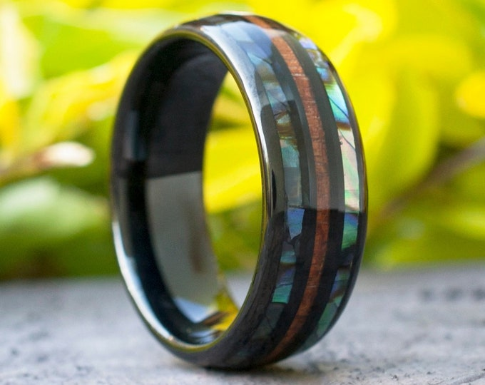 Black Tungsten Ring Abalone Shell Wood Men Wedding Band Mother Pearl Wood 3-Layer 8MM Size 5 to 15 Women Anniversary His Her Special Gift