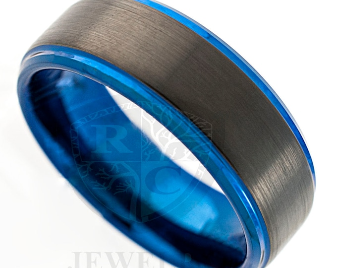 Blue Tungsten Carbide Ring Mens Black Wedding Band Brushed Anniversary Engagement 8MM Size 6-14 Special Gift Personal Engraving Available