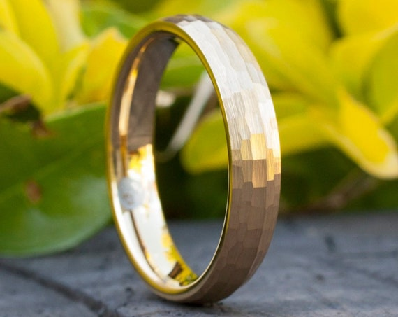 Gold Tungsten Ring Hammered Wedding Bridal Band 4MM Women Men Thin Classic Brush Size 4 to 14 Her His Marriage Anniversary Engagement Gift