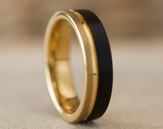 6MM Gold Tungsten Ring Men Women Black Wedding Band Two Tone Brushed Design Male Wife Anniversary Engagement Marriage Gift Sizes 5 to 14