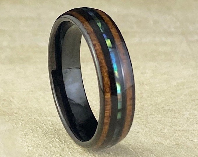 Black Tungsten Ring Wood Abalone Shell 6MM Wedding Band Pearl 3-Layer Inlay Size 5 to 14 His Her Anniversary Engagement Unique Gift Idea