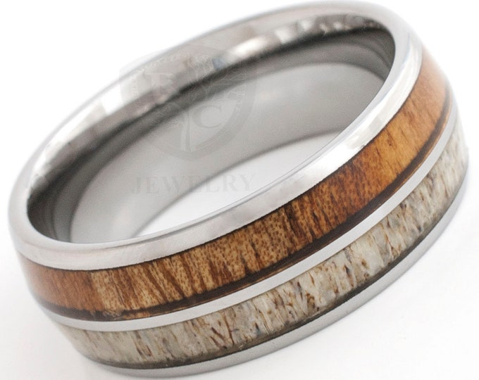 Deer Antler Wood Men Tungsten Ring His Or Her Wedding Band High Polished Design 8MM Size 6 to 15 Women Anniversary Special Gift Comfort Fit
