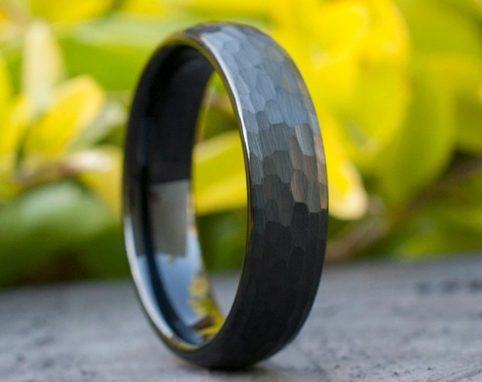 Black Tungsten Hammered Ring Men Women Wedding Band 6MM Size 5 to 14 Husband Wife Classic Brushed  Anniversary Engagement Gift Engrave Opt