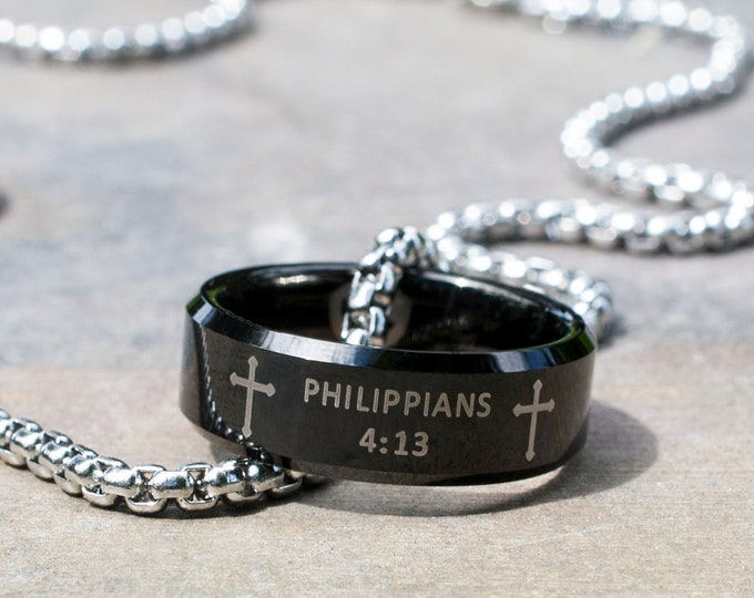 "Philippians 4 13 Necklace Black Tungsten Ring Religious Strength Bible Verse Stainless Steel Men Women Chain Length 20""-26"" Special Gift"