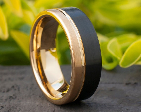 Gold Tungsten Ring Mens Black Wedding Band Two Tone Brushed Design Anniversary Male 8MM Ring Sizes 5 to 14 Women Marriage Gift Free Shipping