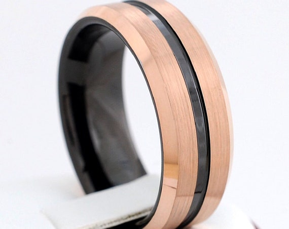 Men Black Tungsten Ring Rose Gold Wedding Band Brush Design 8MM Size 5 to 15 Comfort Fit Anniversary Engagement Love Gift Male Promise Ring