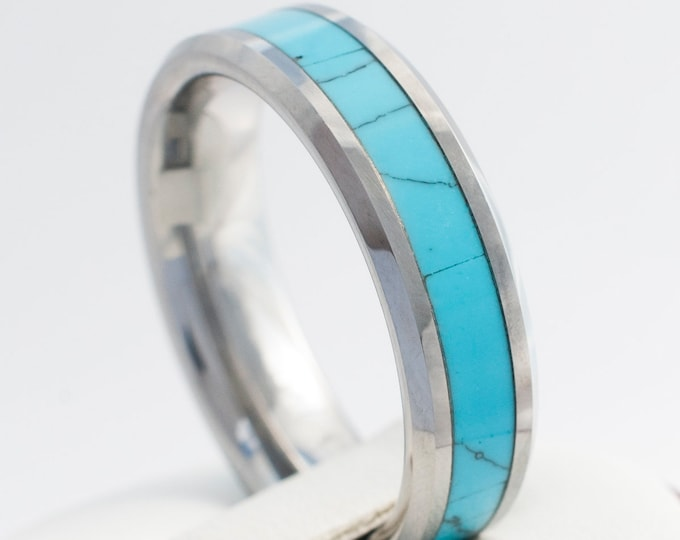 Turquoise Tungsten Ring 6mm Men Women Wedding Band Anniversary Engagement Comfort Fit Promise Ring Size 4 to 14 Husband Wife Special Gift