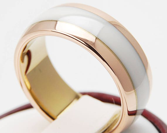 Rose Gold Tungsten Ring White Men Women Wedding Bridal Band High Polished Ceramic Design Comfort Fit 8MM Size 5 to 14 His Her Special Gift