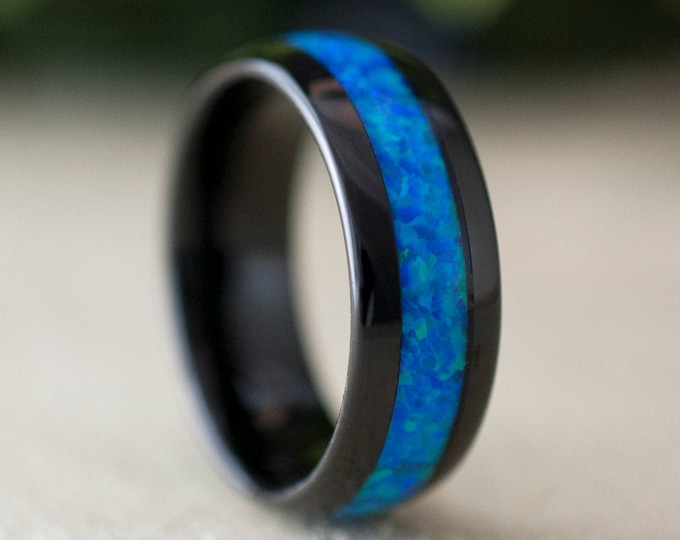 Black Tungsten Ring Blue Green Opal Wedding Band Men Women 8MM Domes Bright Shiny Design Size 5 to 14 His or Her Anniversary Special Gift