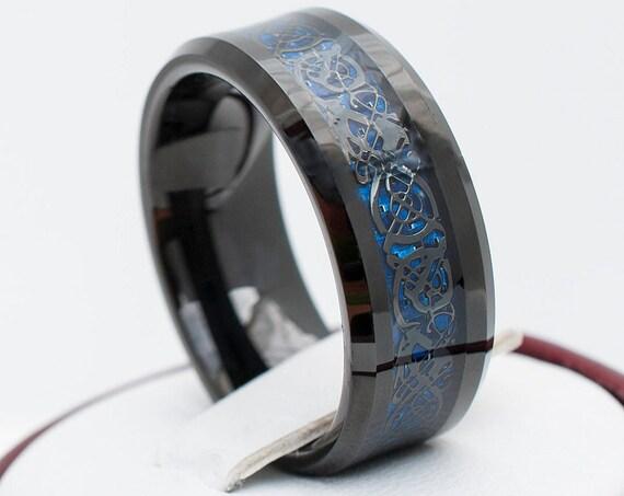 Black Tungsten Ring With Dark Blue Celtic Dragon Design Wedding Band Men Women 8MM Sizes 5 to 15 His or Her Anniversary Valentines Gift Idea