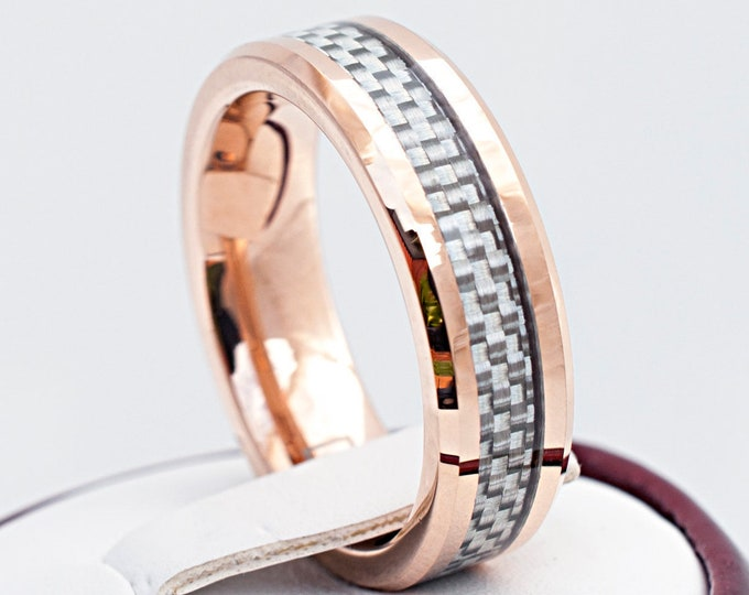 Rose Gold Men Women Tungsten Ring White Grey Two-Tone Carbon Fiber Inlay Beveled Wedding Band 6MM Size 5 to 14 His Her Anniversary Gift Idea