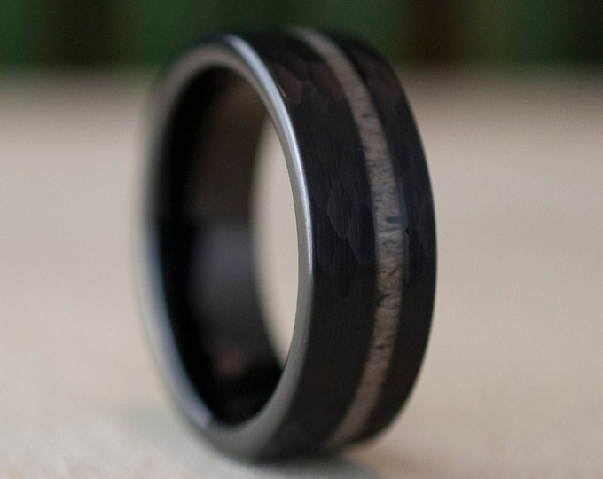 Black Hammered Tungsten Ring Deer Antler Wedding Band Mens 8MM Comfort Fit Design Size 6 to 14 Male Unique Fashion Anniversary Love Gift