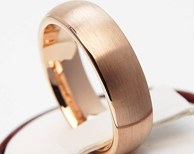 Rose Gold Tungsten Ring Men Woman Wedding Bridal Band 6MM Classic Brush Design Size 4 5 6 7 8 9 10 11 12 13 14 His or Her Special Love Gift