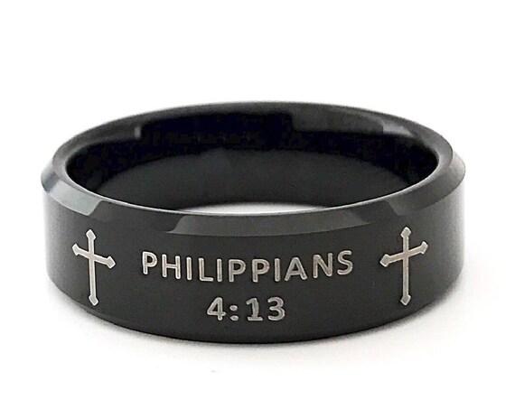 Bible Verse Ring Philippians 4 13 Religious Strength Phrase Black Tungsten Ring Men Women 8MM Size 6 to 14 Birthday Graduation Catholic Gift