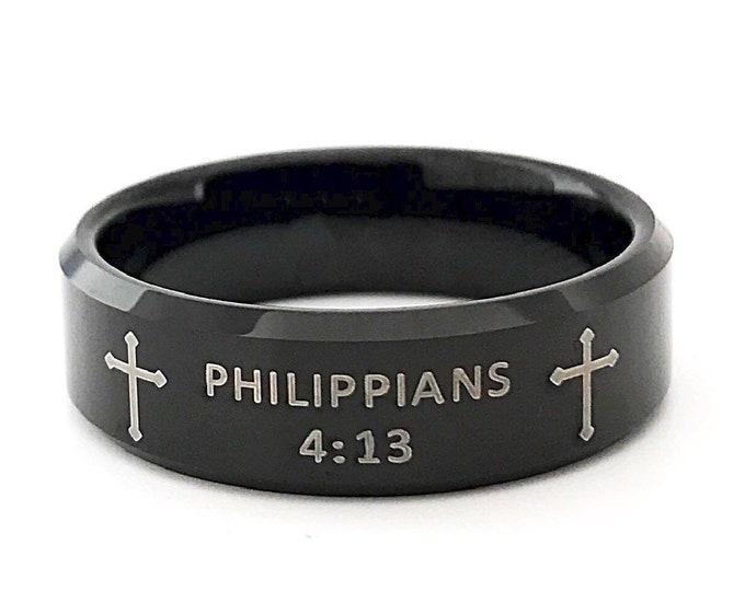 Bible Verse Ring Philippians 4 13 Religious Strength Phrase Black Tungsten Ring Men Women 8MM Size 6 to 14 Birthday Graduation Catholic Gift