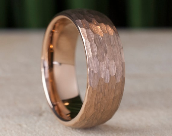 Hammered Tungsten Ring Rose Gold Men Wedding Band 8MM Brushed Pink Color Design Size 5 to 15 Male Anniversary Engagement Special Gift Idea