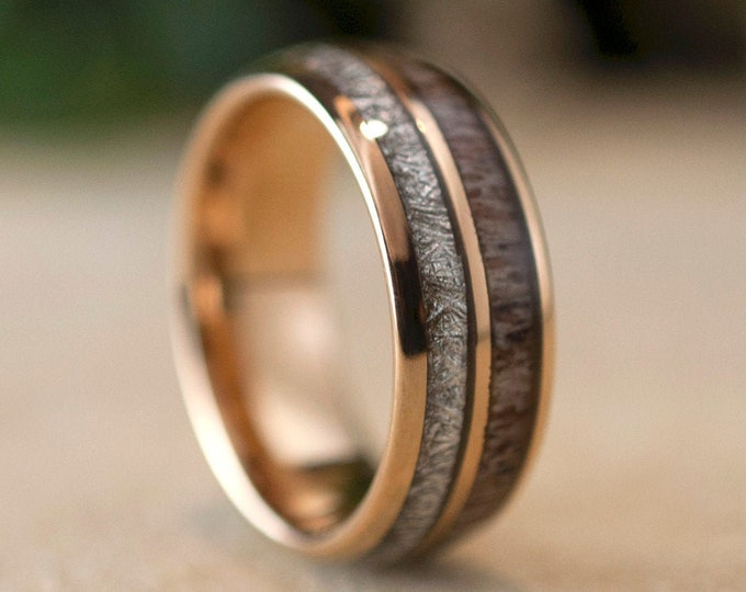 Deer Antler Meteorite Rose Gold Tungsten Ring 8MM Men Women Anniversary Wedding Band Size 5 to 15 Polished Engagement Special Occasion Gift