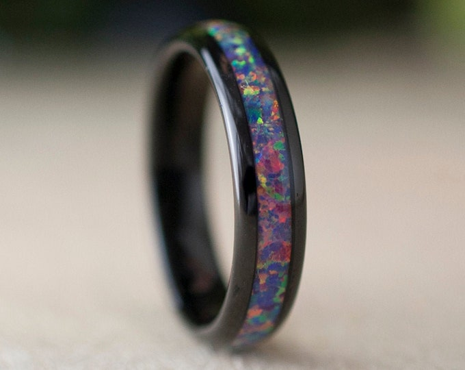 Black Tungsten Ring Purple Pink Opal Wedding Bridal Band Women 5MM Domes Bright Shiny Design Size 4 to 13 Her Anniversary Wife Unique Gift