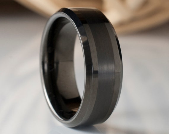 Men Tungsten Ring Gunmetal Black Color Wedding Band Male 8MM Size 5 to 15 Beveled Brushed Design Great His Anniversary Engagement Gift Idea