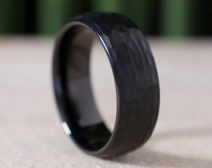 Hammered Black Tungsten Ring 8MM Men Wedding Band Size 5 to 15 Male Comfort Fit Brushed Anniversary Engagement Gift Idea Add Personalized