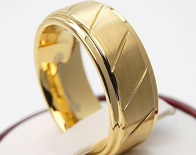 Gold Tungsten Ring Men Wedding Band Line Groove Brush Male Style Design Jewelry 8MM Size 6 to 14 His Anniversary Special Husband Gift Idea
