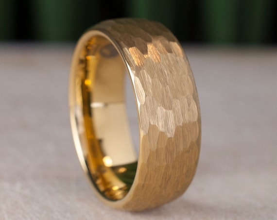 Gold Hammered Tungsten Carbide Ring Men 8MM Wedding Band Yellow Classic Elegant Brushed Male Design Size 5 to 15 His Anniversary Gift Idea