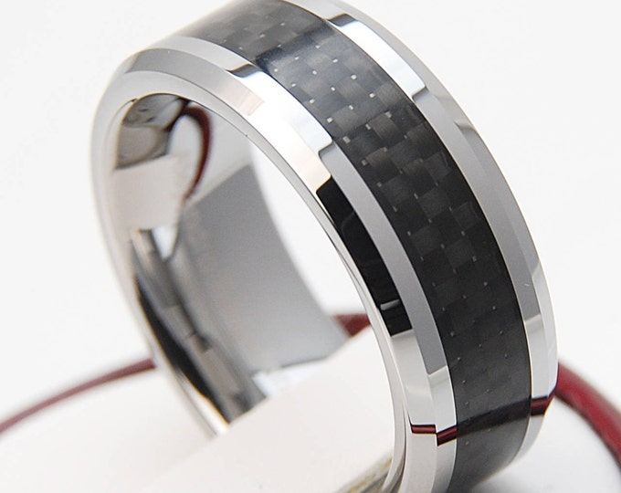 Tungsten Ring Black Carbon Inlay Wedding Band Men Women Comfort Fit 8MM or 6MM Size 6 to 14 His and Her Anniversary Engaged Promise Gift