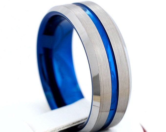 Blue Tungsten Ring Men Wedding Band Grey Brushed Comfort Fit 8MM Sizes 5-15 Personal Engraving Services Husband Anniversary His Special Gift
