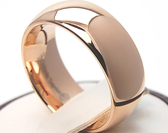 Rose Gold Tungsten Ring Wedding Bridal Band Classic Men Women High Polished Shiny Design 8MM Size 5 to 15 His Her Comfort Symbol Love Gift