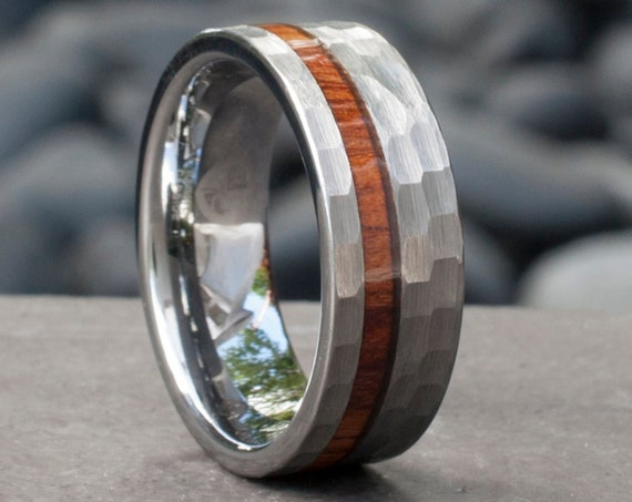 Hammered Grey Tungsten Ring Wood Inlay Male Wedding Band Mens 8MM Comfort Fit Design Size 5 to 15 His Anniversary Gift Personalized Services
