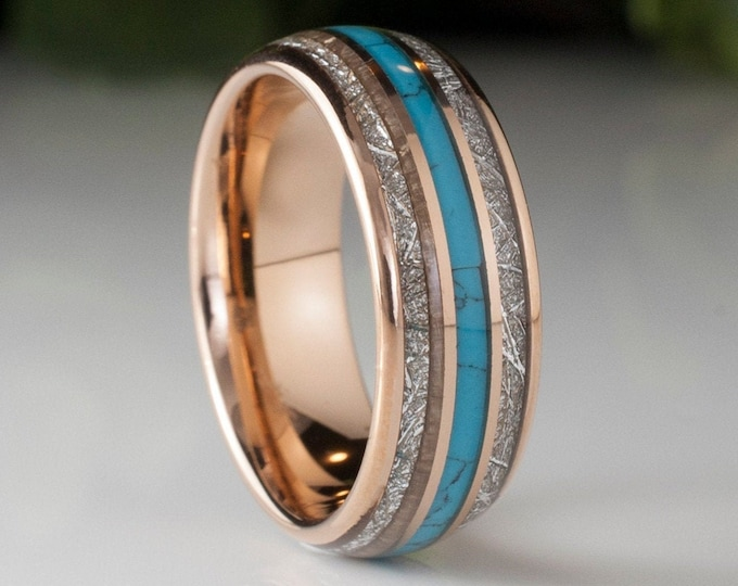 Rose Gold Tungsten Ring Meteorite Turquoise Triple Inlay Handcraft Wedding Band Men Women 8MM Size 5 to 14 His Her Anniversary Engagement
