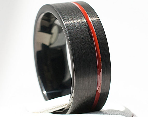 Black Tungsten Ring Red Line Men Wedding Band Brushed Satin Design Male Anniversary Comfort Fit Ring 8MM Size 5 to 15 Husband Wife Love Gift