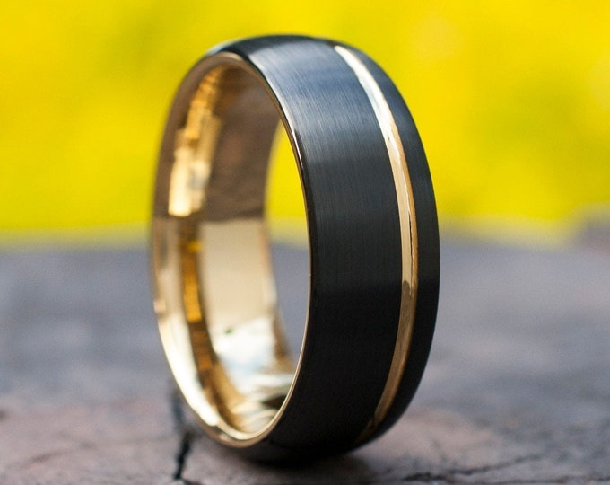 Yellow Gold Tungsten Ring Mens Wedding Band Black Matte Brushed Domed Design 8MM Size 5 to 15 Anniversary Engagement Husband Special Gift
