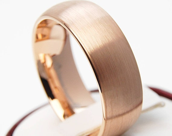 Tungsten Ring Rose Gold Wedding Bridal Band Men Women 8MM Wide Classic Brushed Design Size 5 to 15 His or Her Anniversary Engagement Gift