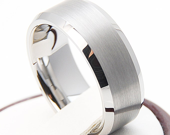 Men Tungsten Ring Grey Wedding Classic Band His 8MM Strong Brush Polished Design Size 6-14 Men Anniversary Gift Personal Engraving Available
