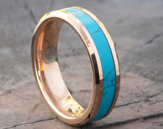 Turquoise Rose Gold Tungsten Ring Women Men Wedding Band 6mm Beveled Edges Comfort Fit Size 4 to 14 His Her Anniversary Engagement Ring