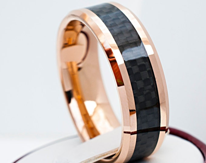 Men Rose Gold Tungsten Ring Black Carbon Fiber Inlay Wedding Band Beveled 8MM Size 5 6 7 8 9 10 11 12 13 14 15 His Anniversary Gift Idea