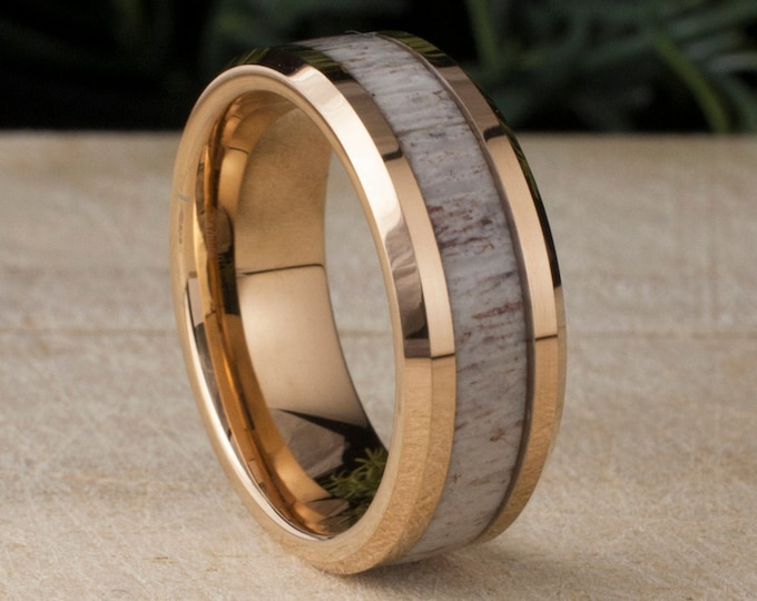 Rose Gold Tungsten Ring Deer Antler Inlay Men Wedding Band Polished Male 8MM Size 5 to 14 His Significant Other Anniversary Engagement Gift