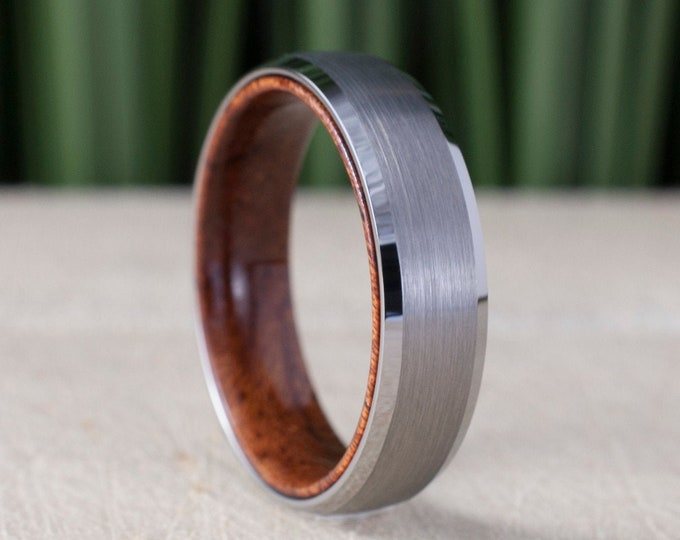 Wood Inside Grey Tungsten Ring 6MM Wedding Band Brushed Design Men Women Comfort Fit Size 5 to 14 His Her Engagement Anniversary Unique Gift