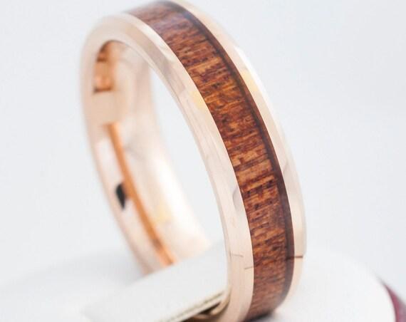 Tungsten Wood Ring Rose Gold Men Women Wedding Band 6MM Size 4 to 14 Great Anniversary His Her Elegant Hawaiian Koa Wood Inlay Engraving Opt