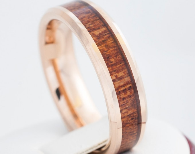 Tungsten Wood Ring Rose Gold Men Women Wedding Band 6MM Size 4 to 14 Great Anniversary His Her Elegant Hawaiian Koa Wood Inlay Engraving Opt