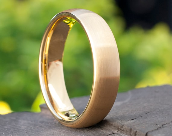 Tungsten Ring Gold Wedding Bridal Band Man's Women's 6MM Classic Elegant Brushed Design Size 4 to 14 Great His Or Her Anniversary Love Gift