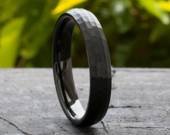 Hammered Black Tungsten Ring 4MM Wedding Band Women Men Thin Domed Brushed Size 4 to 14 His Her Anniversary Engagement Gift Engraving Opt