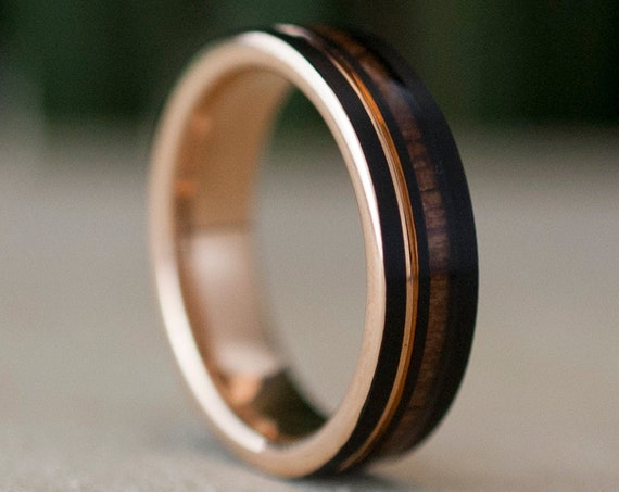 Wood Black Rose Gold Tungsten Ring 6MM Women Men Wedding Band Groove Design Size 4 - 14 His Her Anniversary Engagement Gift Personalized Opt