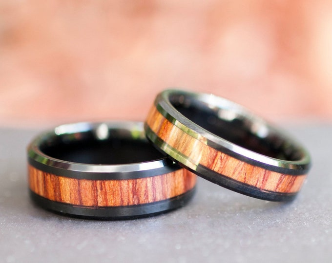 Wood Black Tungsten Ring Men Women Wedding Anniversary Band Set Or Single Ring 8MM 6MM Size 5 to 14 His Her Duo Promise Engagement Ring Gift