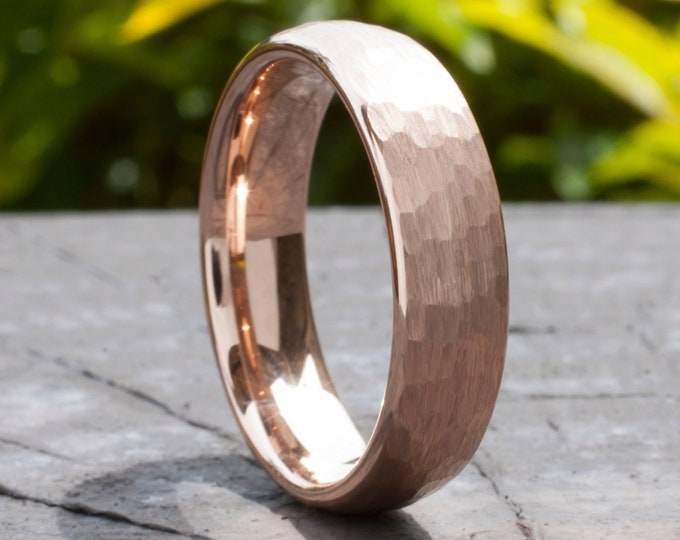 Hammered Tungsten Ring Rose Gold Men Woman Wedding Band 6MM Classic Brushed Design Size 5 to 14 His Her Anniversary Engagement Special Gift