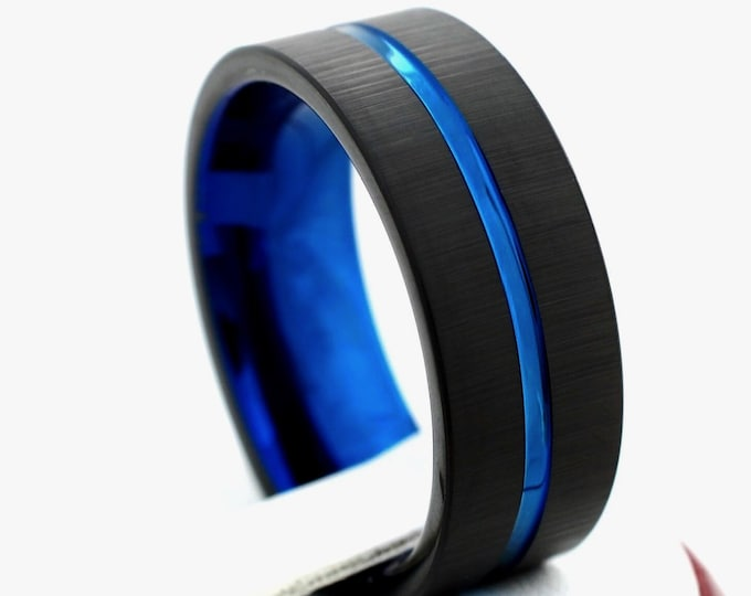 Male Tungsten Ring Blue Wedding Band Black Brushed Men Anniversary Holiday Gift Husband 8MM Size 5 to 14 Engagement Promise Fiance Circle