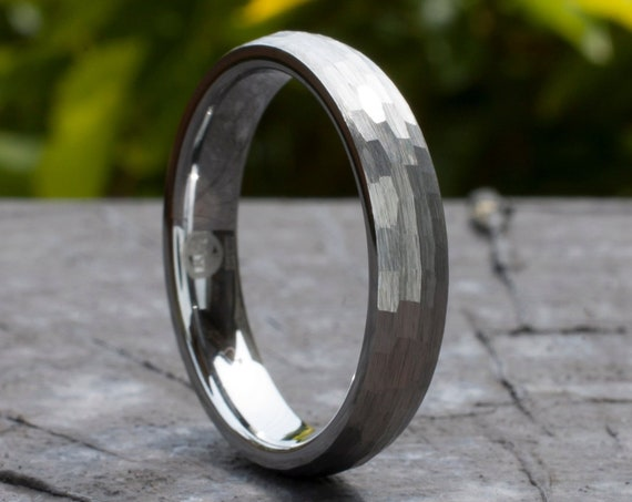4MM Hammered Tungsten Ring Grey Wedding Bridal Band Women Men Thin Classic Domed Brushed Size 4 to 14 His Her Anniversary Engagement Gift